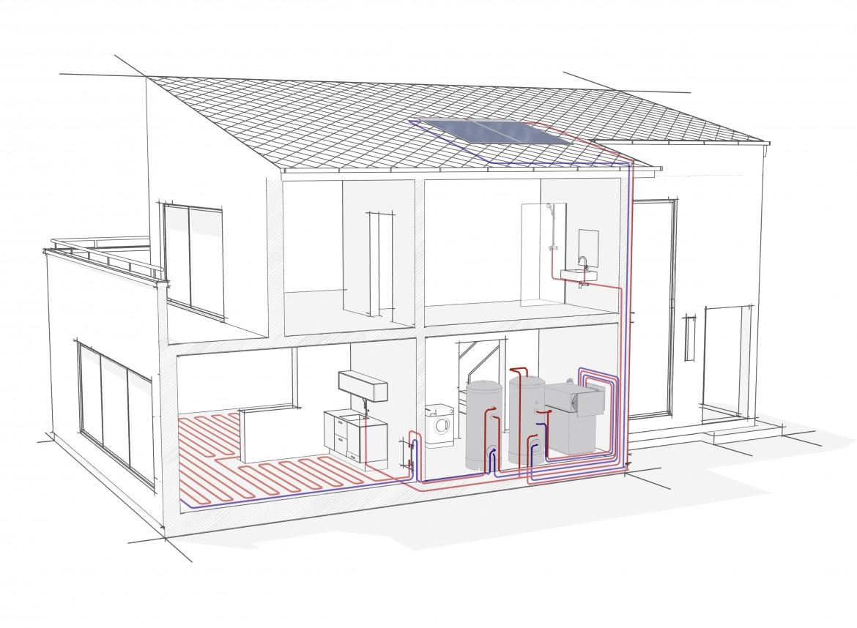 Schéma pompe à chaleur - air-eau en intérieur