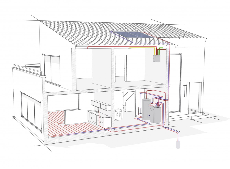 Schéma pompe à chaleur - sonde géothermique